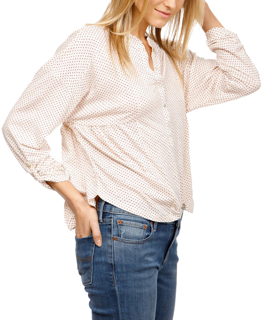 Yieldings Discount Clothing Store's Henley Printed Top by Lucky Brand in Beige