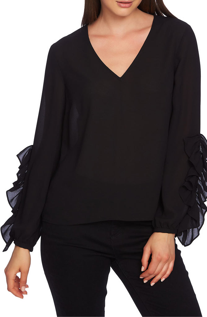Yieldings Discount Clothing Store's Ruffle Sleeve Blouse by 1.State in Rich Black