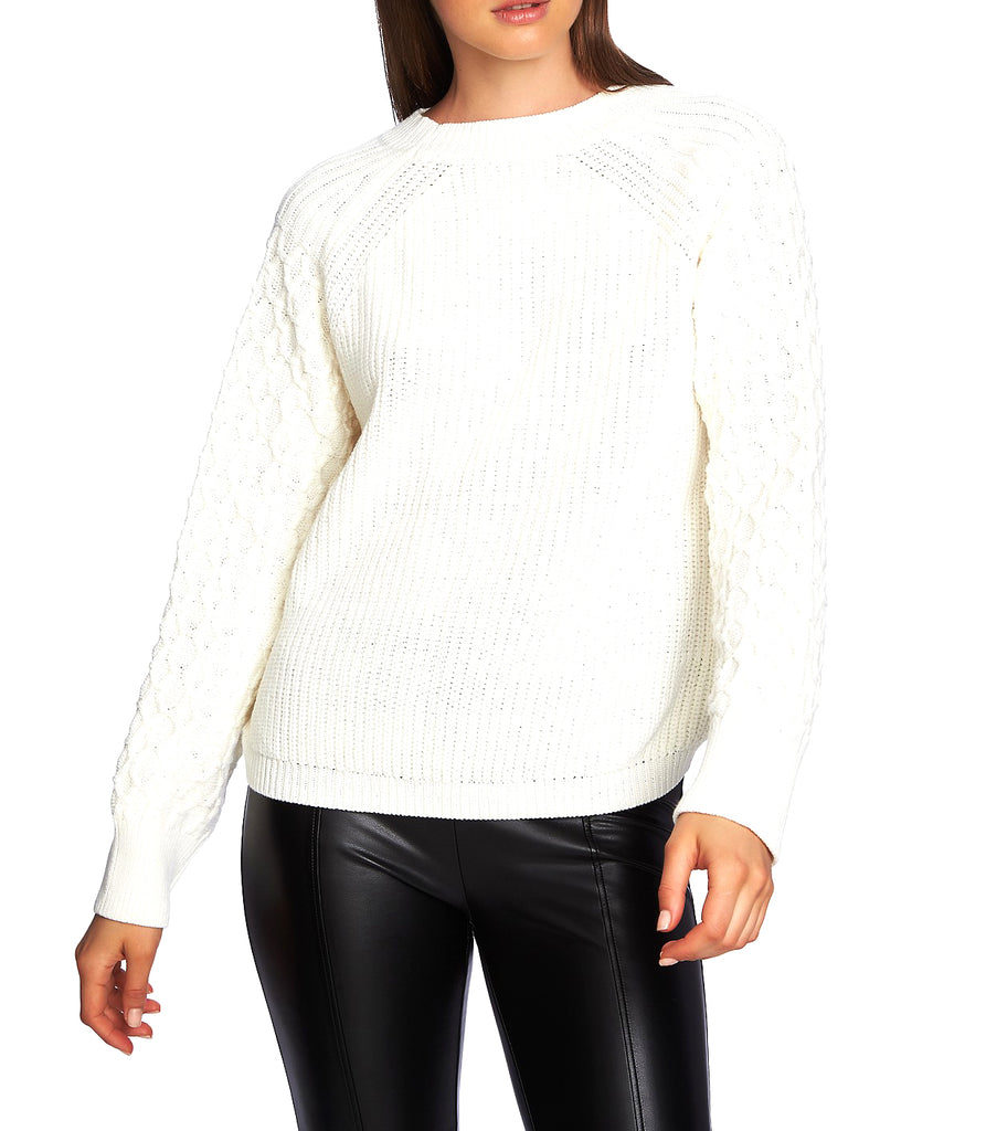 Yieldings Discount Clothing Store's Crewneck Textured-Sleeve Sweater by 1.State in Antique White