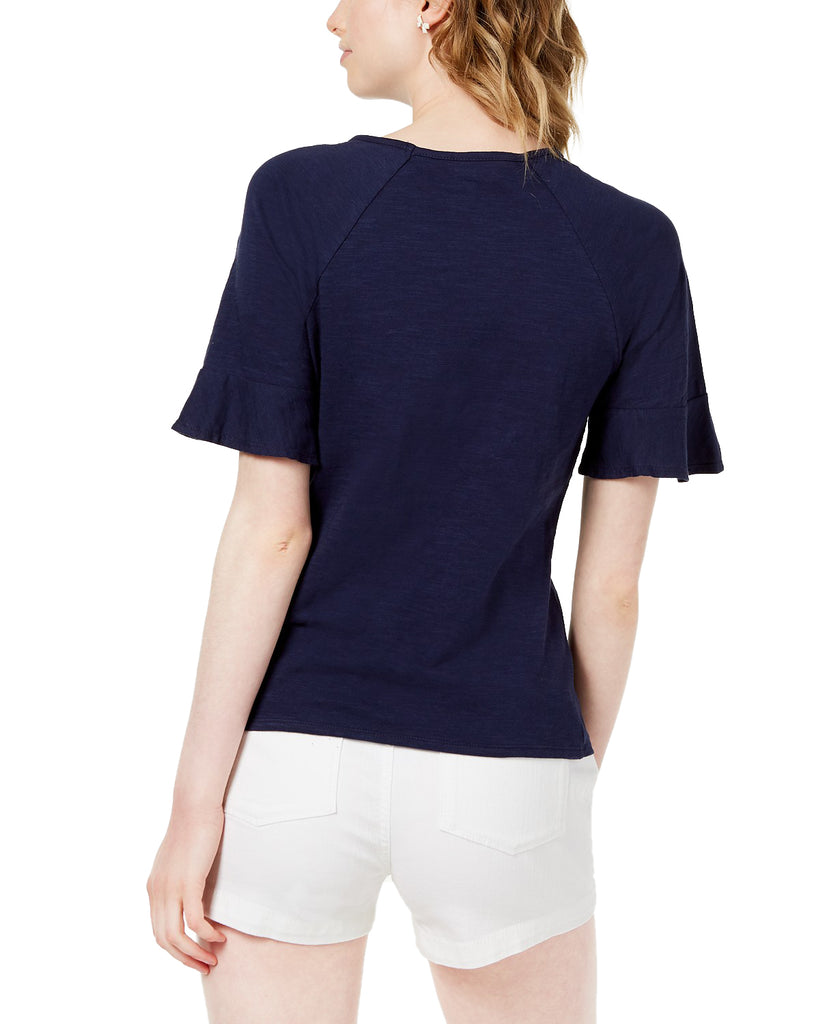Yieldings Discount Clothing Store's Jadore Cotton Grommer Ribbon Top by Maison Jules in Blue Notte