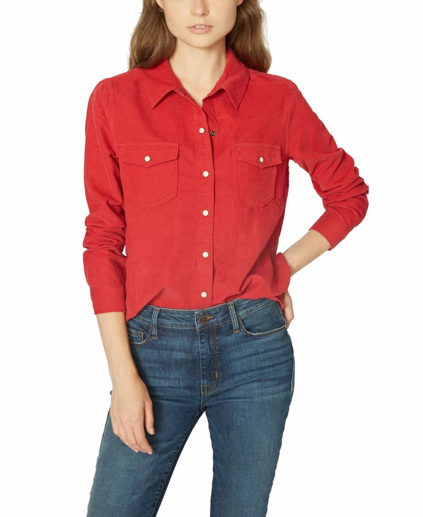 Yieldings Discount Clothing Store's Cotton Front Snap Shirt by Lucky Brand in Cherrywine