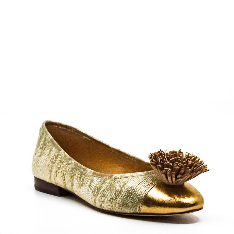 Yieldings Discount Shoes Store's Lolita Metallic Embossed Leather Ballet by MICHAEL Michael Kors in Pale Gold
