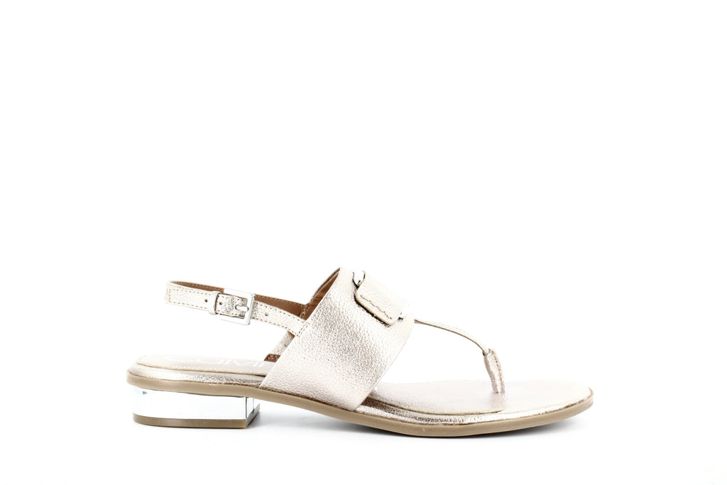 Yieldings Discount Shoes Store's Freida Metal Grain Sandals by Calvin Klein in Soft Platinum