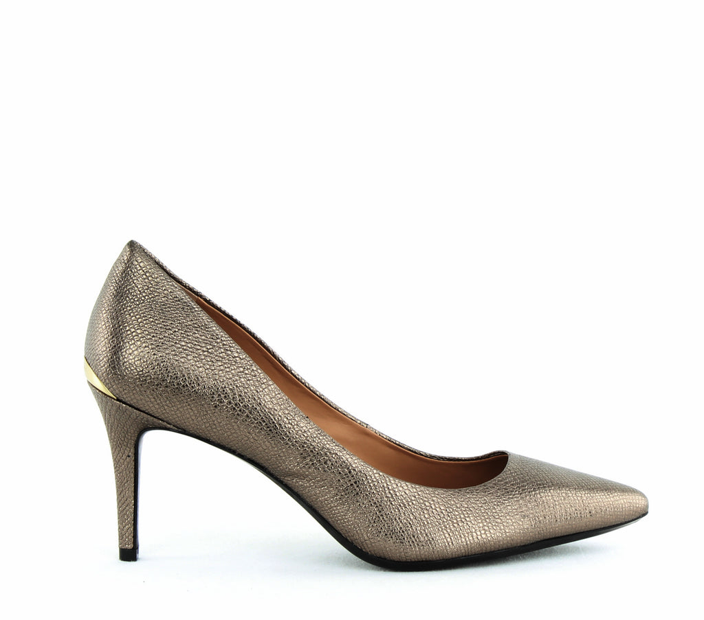 Yieldings Discount Shoes Store's Gayle Pumps by Calvin Klein in Gold Foiled Lizard
