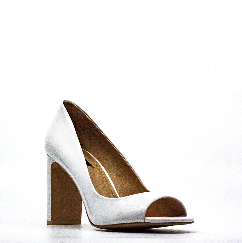 Yieldings Discount Shoes Store's Jade Peep Toe Patent Leather Pumps by DKNY in White