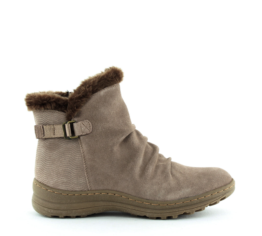 Yieldings Discount Shoes Store's Avita Boots by Baretraps in Mushroom Suede