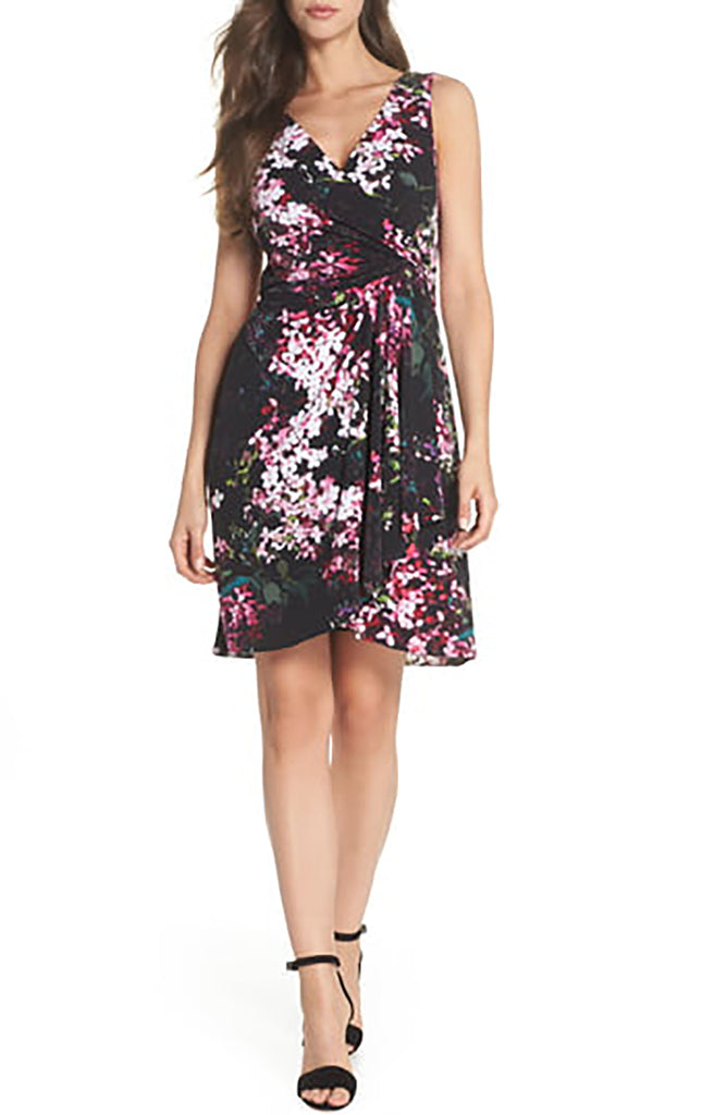 Yieldings Discount Clothing Store's Floral Print Twist Front Dress by Adrianna Papell in Black Multi