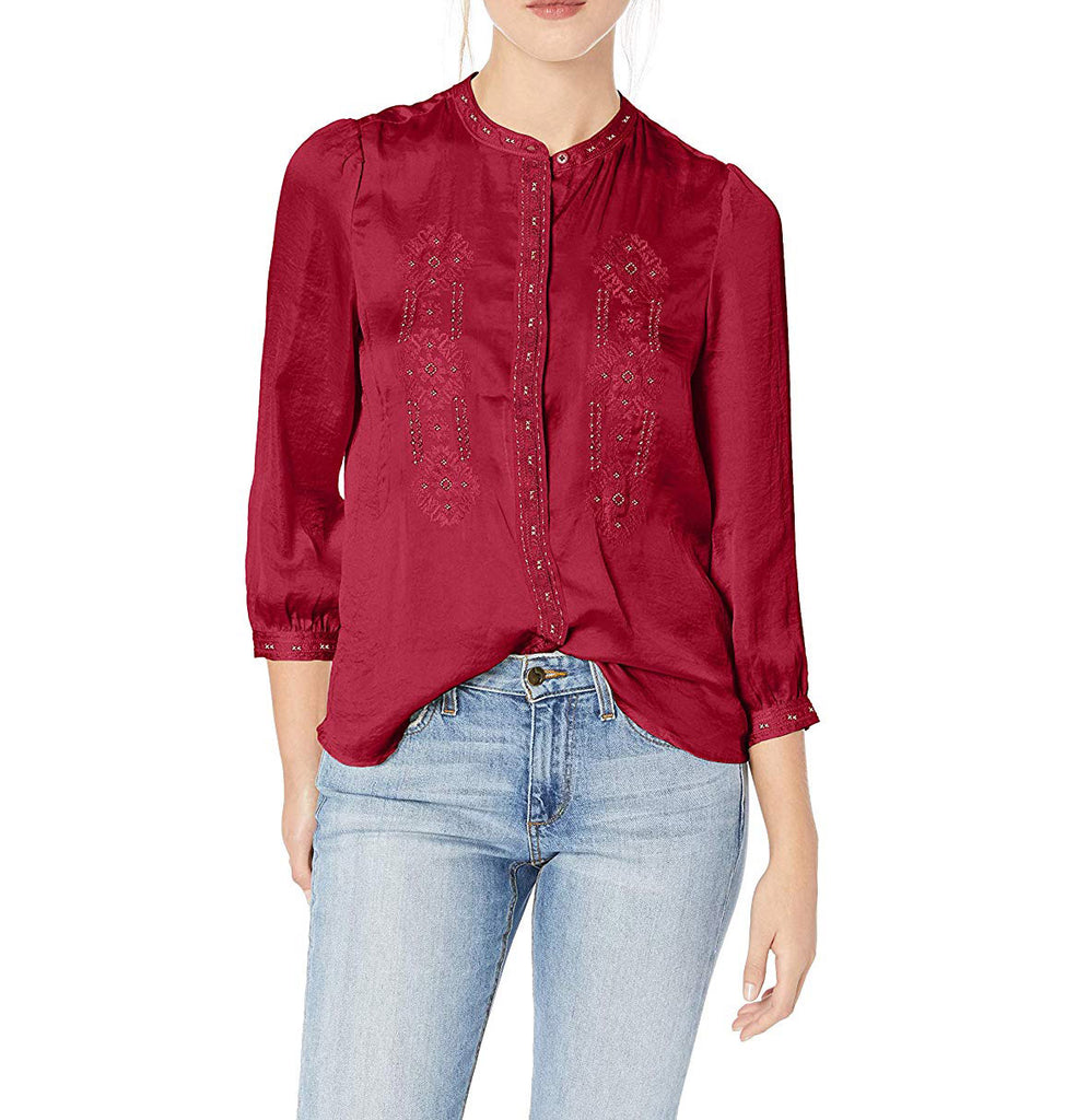Yieldings Discount Clothing Store's Embroidered Hammered Top by Lucky Brand in Cabernet