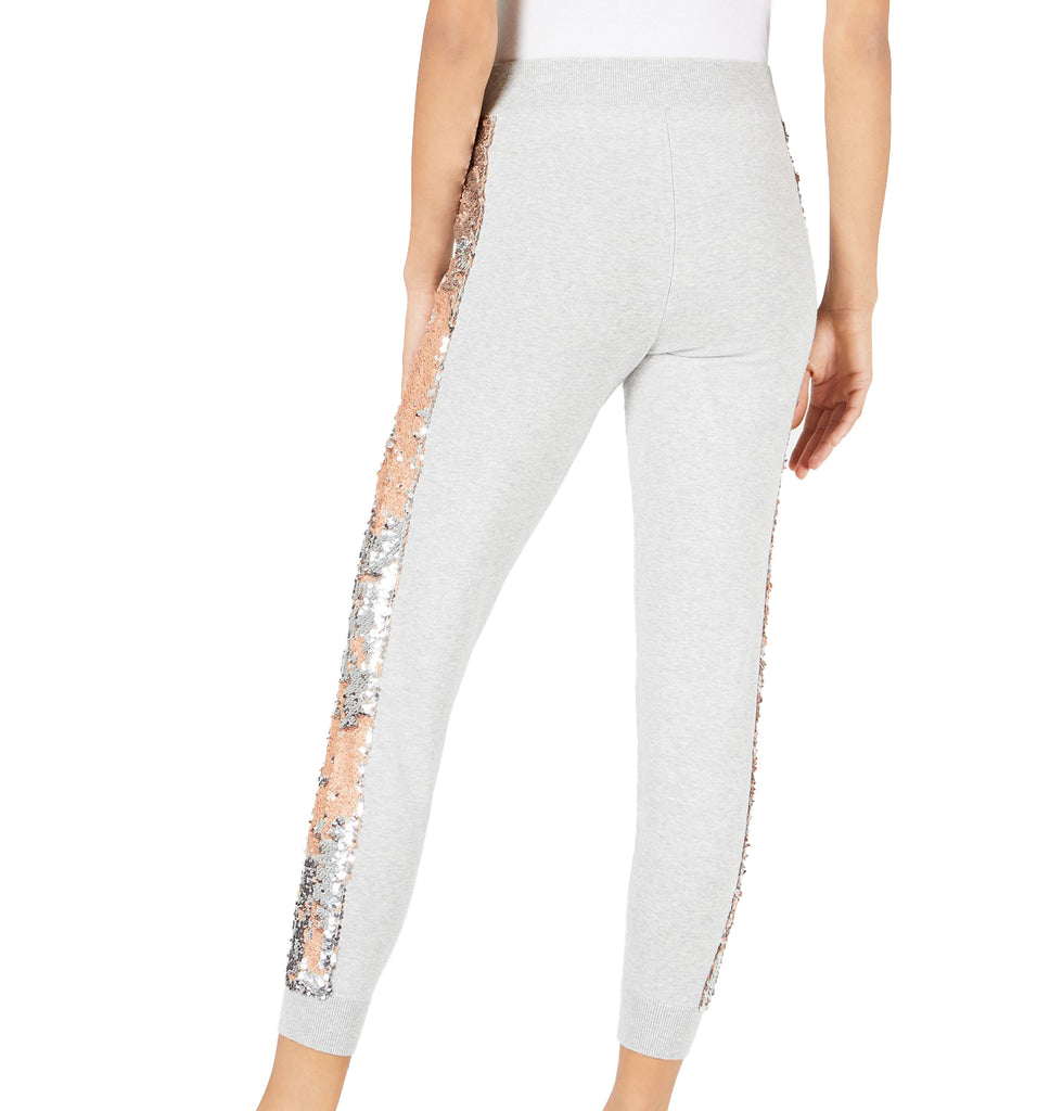 Yieldings Discount Clothing Store's Sequined Stripe Sweatpants by Bar III in Heather Belle Grey