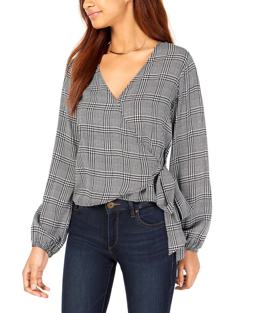 Yieldings Discount Clothing Store's Houndstooth-Print Wrap Blouse by Polly & Esther in Black/White