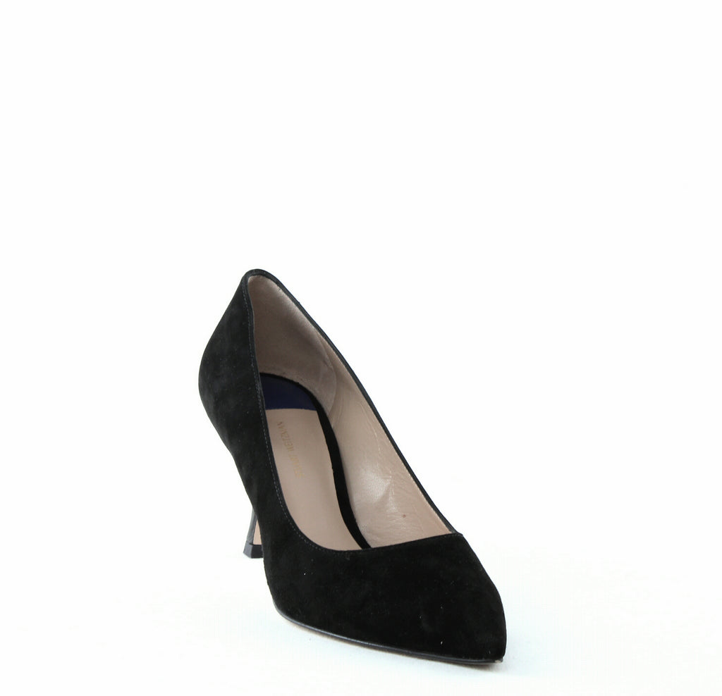 Yieldings Discount Shoes Store's Tippi 70 Suede Pumps by Stuart Weitzman in Pitch Black Combo Suede