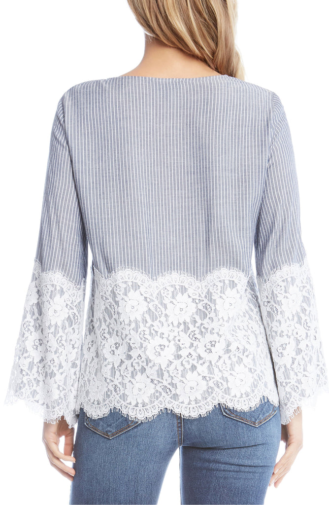 Yieldings Discount Clothing Store's Chambray Stripe Lace Top by Karen Kane in Stripe