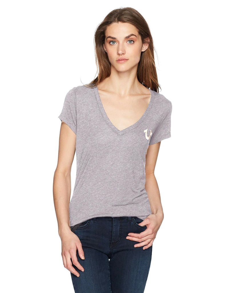 Yieldings Discount Clothing Store's Metallic Logo T-Shirt by True Religion in Heather Grey