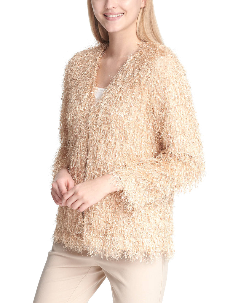 Yieldings Discount Clothing Store's Eyelash Sequin-Embellishment Jacket by Calvin Klein in Latte