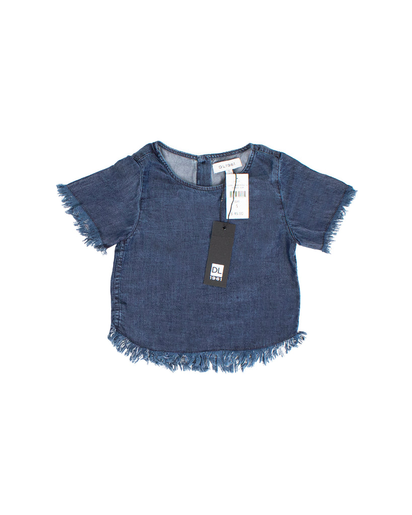 Yieldings Discount Clothing Store's Keira - Short Sleeve Tee by DL1961 in Dark Rinse w/ Fringe Hem