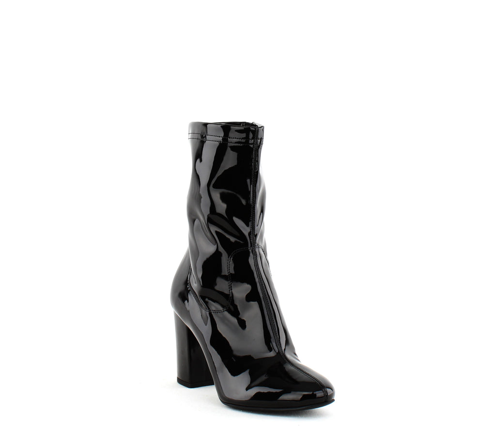 Yieldings Discount Shoes Store's Alyssa Patent Block Heel Ankle Boots by Kenneth Cole in Black