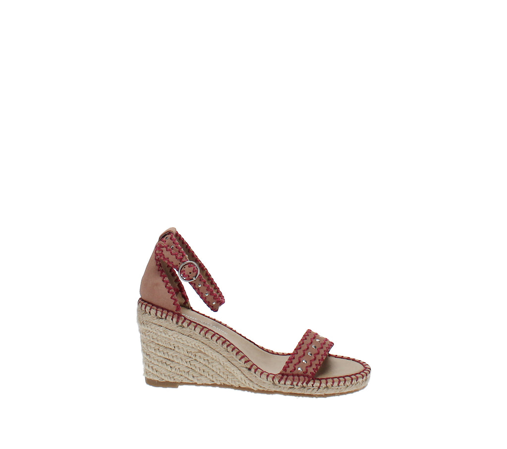 Yieldings Discount Shoes Store's Charming Espadrille Wedge Sandals by Adrienne Vittadini in Dusty Pink