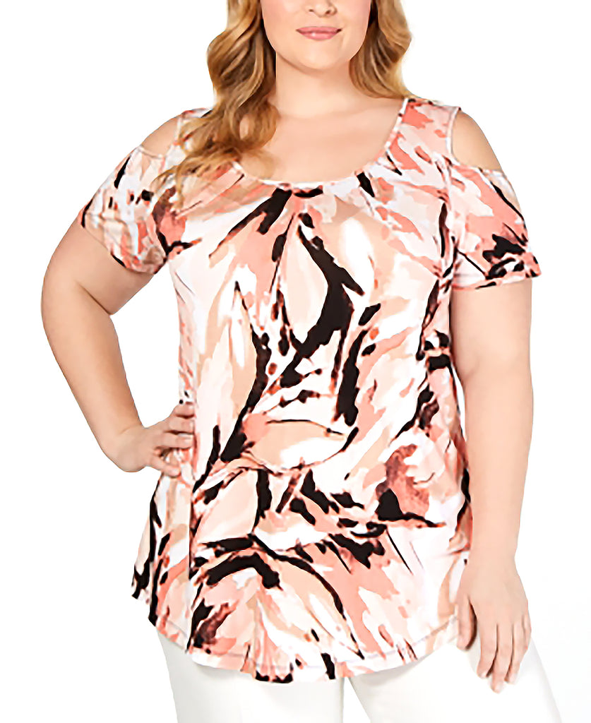 Yieldings Discount Clothing Store's Cold-Shoulder Top by JM Collection in Floral Splash