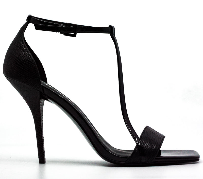 Yieldings Discount Shoes Store's Mackenzie Shiny Lizard Strappy Heels by Calvin Klein in Black