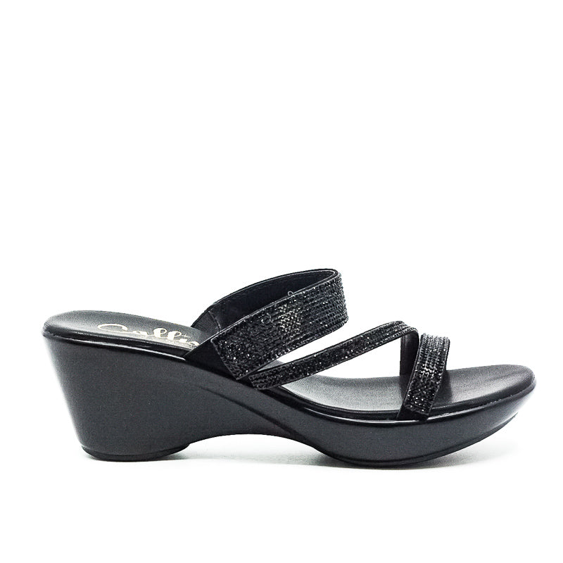 Yieldings Discount Shoes Store's Raya Wedge Sandals by Callisto Of California in Black