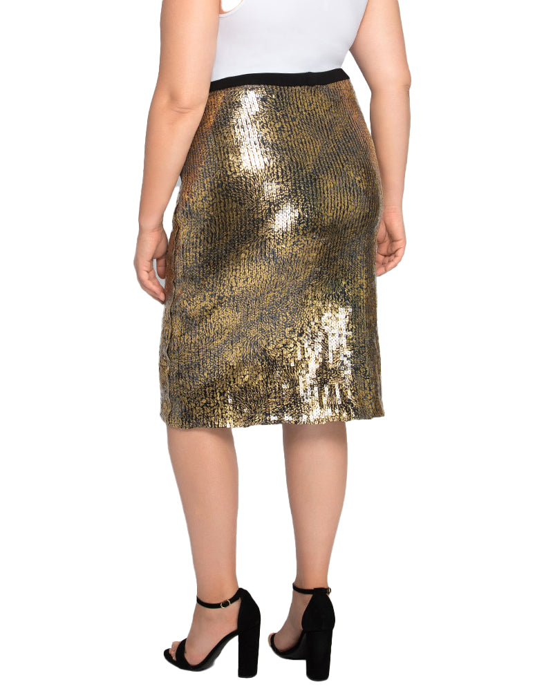 Yieldings Discount Clothing Store's Baroque Sequin Skirt by Kiyonna in Gold