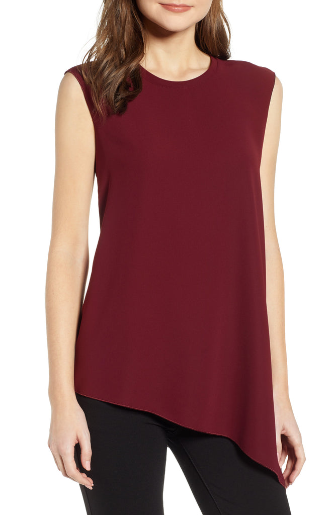 Yieldings Discount Clothing Store's Fluid Crepe Asymmetrical Hem Blouse by Anne Klein in Cordovan