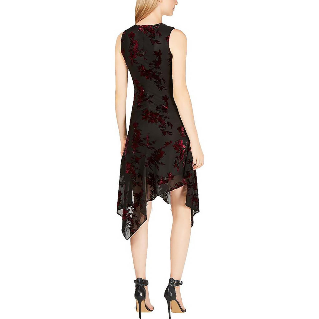 Yieldings Discount Clothing Store's Velvet Burnout Dress by Calvin Klein in Black Multi