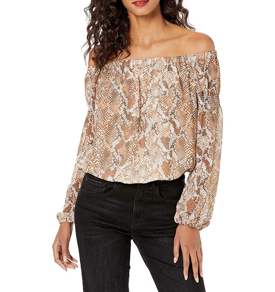 Guess | Off Shoulder Meadow Top Wild Snake Print