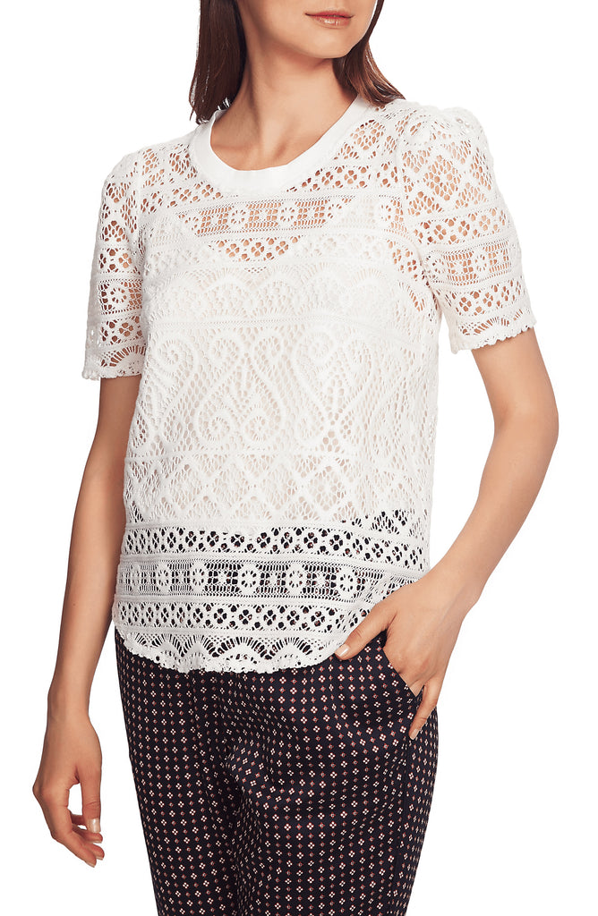 Yieldings Discount Clothing Store's Plush Luxe Puff Sleeve Lace Top by 1.State in Soft Ecru