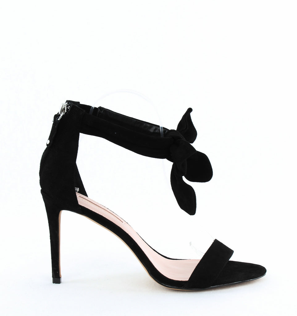 Yieldings Discount Shoes Store's Jax High-Heel Sandals by Avec Les Filles in Black Suede