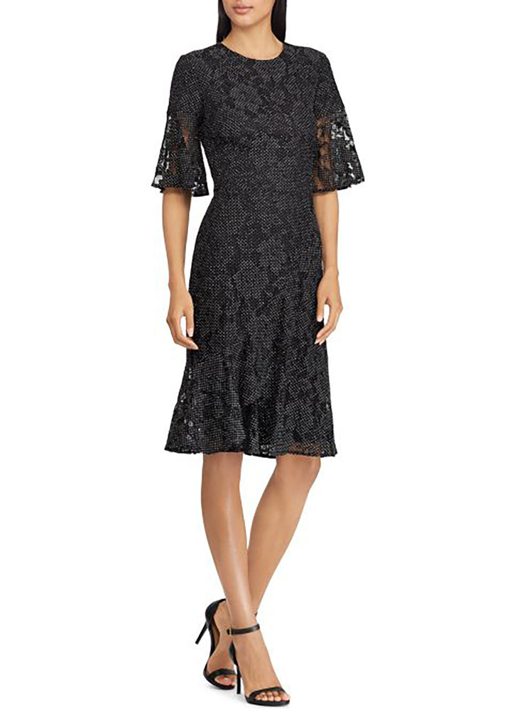 Yieldings Discount Clothing Store's Dotted Lace Dress by Lauren by Ralph Lauren in Black/White