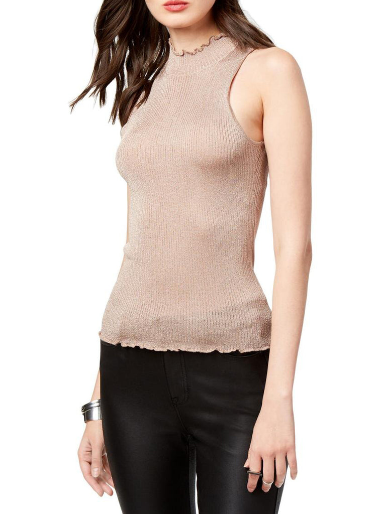 Yieldings Discount Clothing Store's Juniors Lettuce Trim Ribbed Top by Guess in Nougat