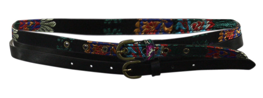 Yieldings Discount Accessories Store's Embroidered & Solid 2-for-1 Belts by INC in Black/Multi