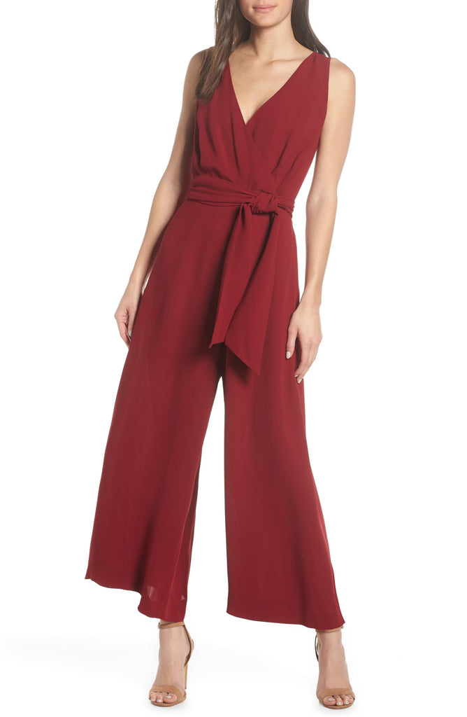 Yieldings Discount Clothing Store's Bessie Crepe Jumpsuit by French Connection in Red