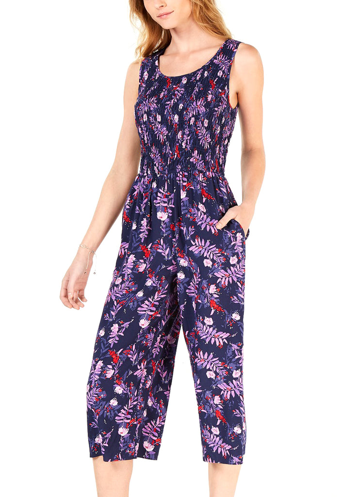 Yieldings Discount Clothing Store's Smocked Cropped Jumpsuit by Maison Jules in Watery Garden