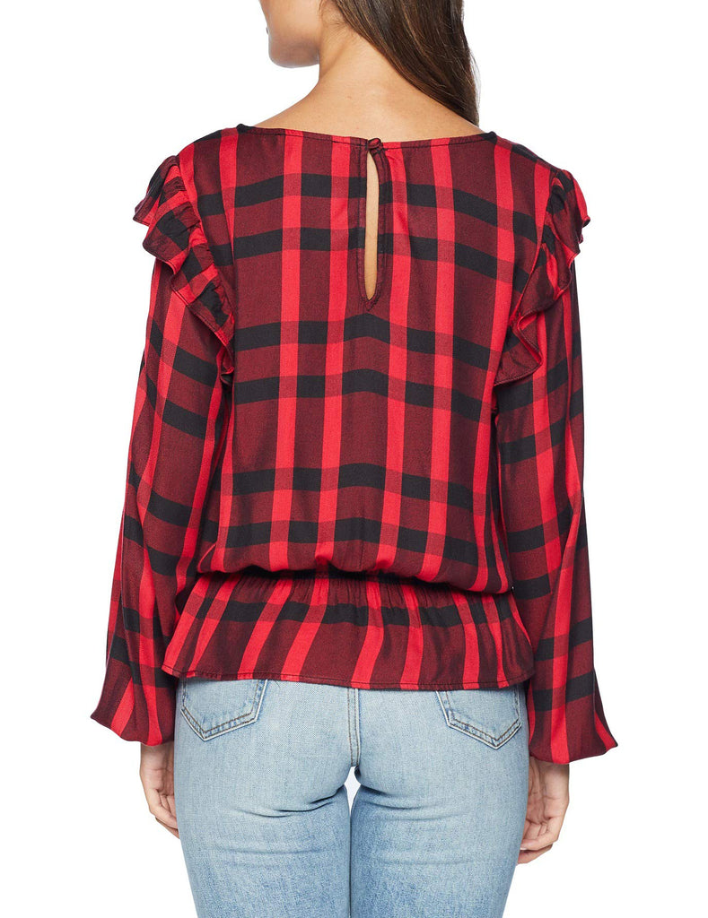 Yieldings Discount Clothing Store's Millie Ruffle Blouse by Sanctuary in Cherrywine Plaid