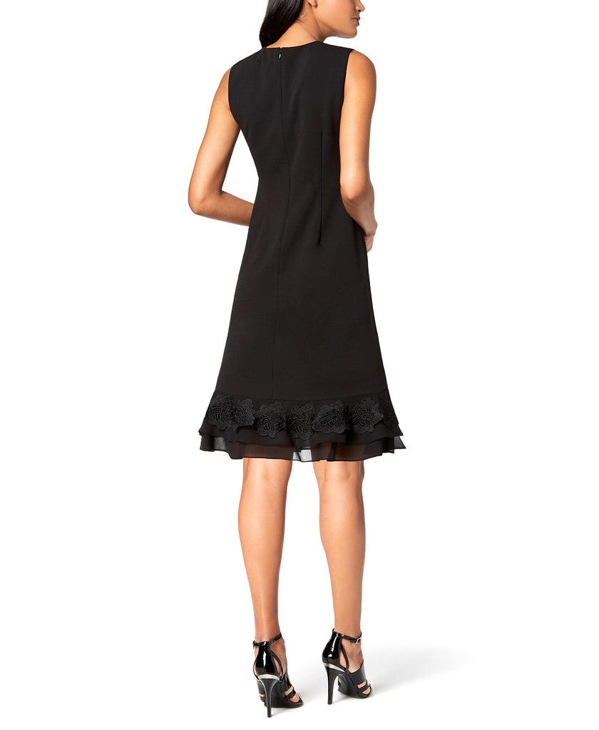 Yieldings Discount Clothing Store's Lace-Flower Fit & Flare Dress by Calvin Klein in Black