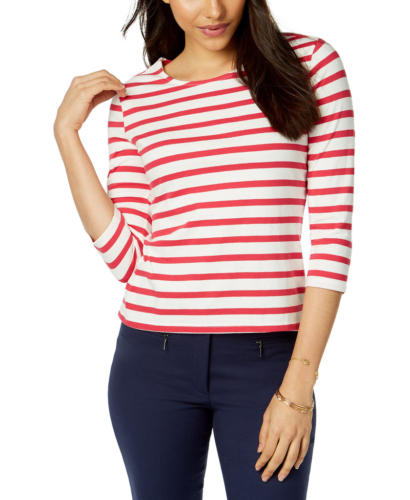 Yieldings Discount Clothing Store's Juillet Cotton Striped Bow-Embellished Top by Maison Jules in Cherry Freeze