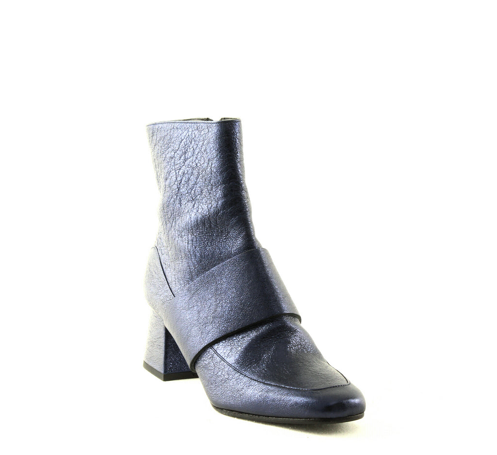 Yieldings Discount Shoes Store's Goldie Square Toe Ankle Boots by ASKA in Navy Metallic Crackle