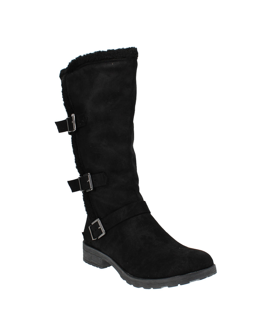 Yieldings Discount Shoes Store's Santell Tall Buckle Boot by White Mountain in Black