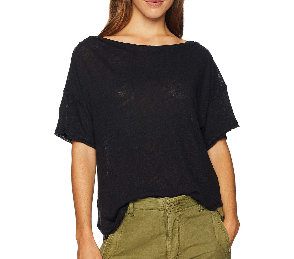 Yieldings Discount Clothing Store's She's So Cool Off The Shoulder T-Shirt by Free People in Black