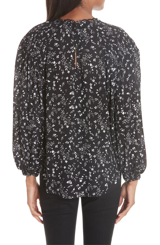Yieldings Discount Clothing Store's Lissane Floral Blouse by Joie in Caviar