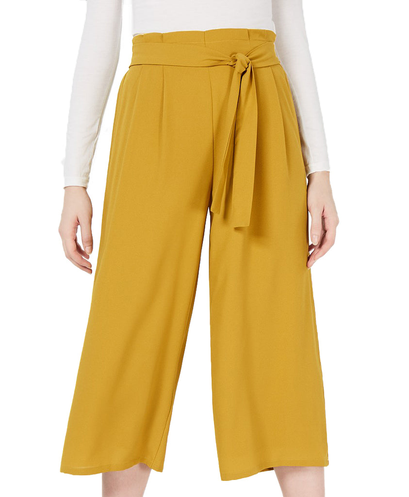 Yieldings Discount Clothing Store's Belted Culottes Pants by Sage in Mustard