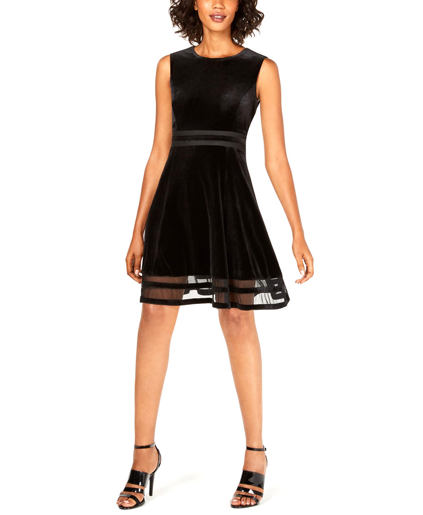 Yieldings Discount Clothing Store's Velvet Illusion A-Line Dress by Calvin Klein in Black