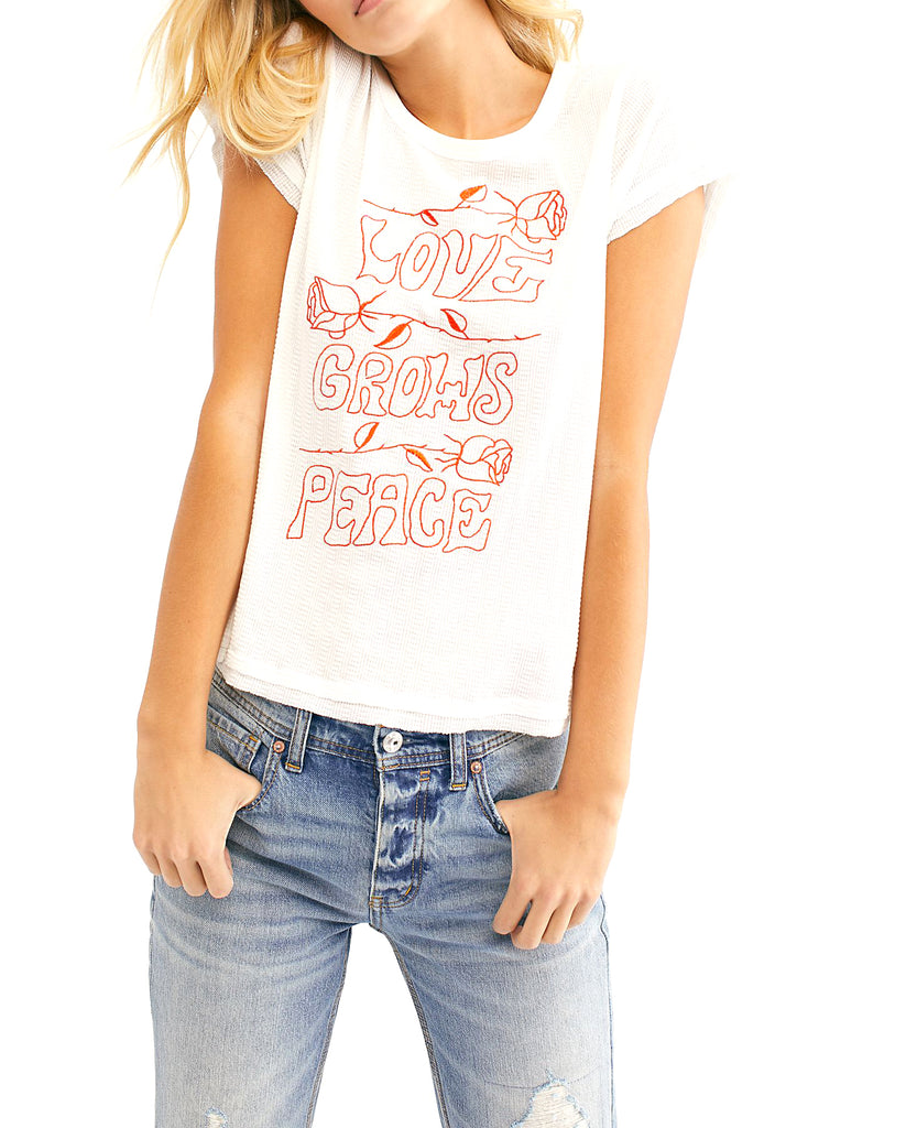Yieldings Discount Clothing Store's Adoration Tee by Free People in White Combo