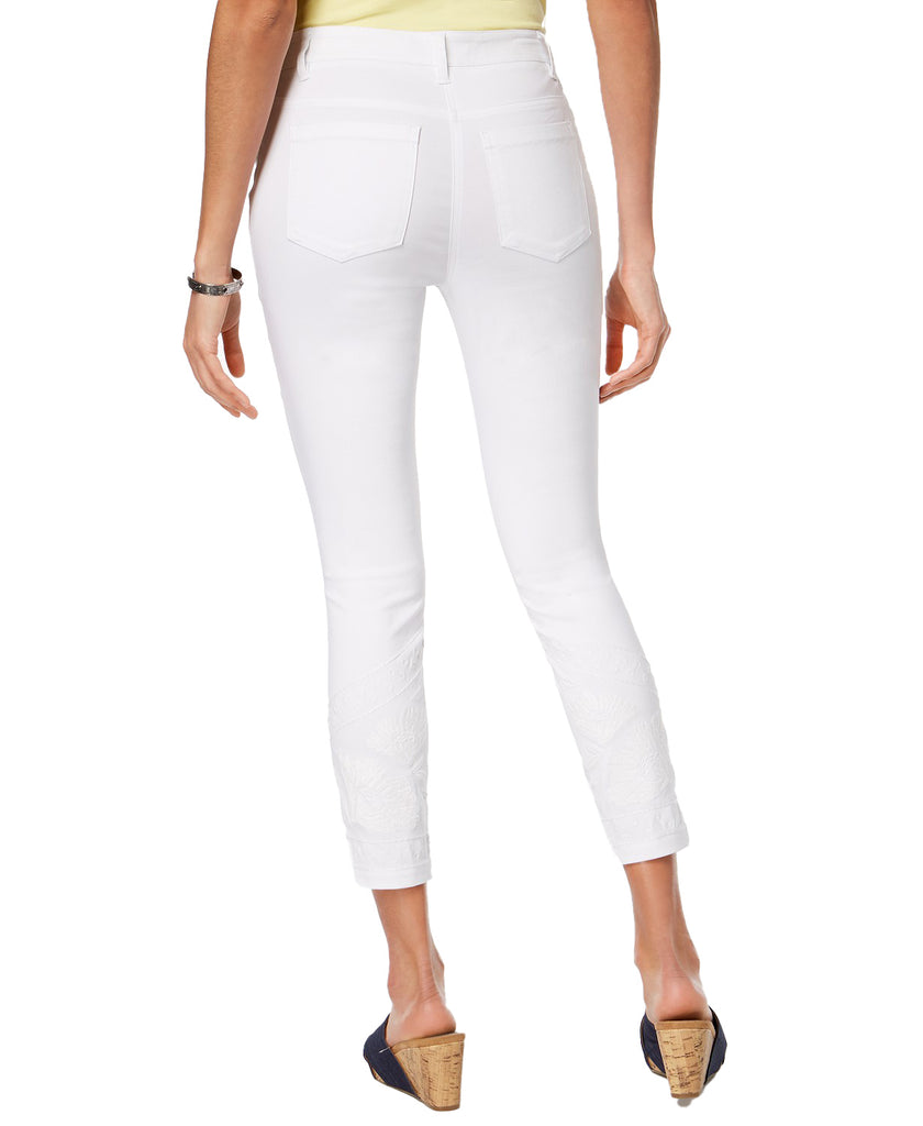 Yieldings Discount Clothing Store's Embroidered Skinny Ankle Pants by Style & Co in Bright White