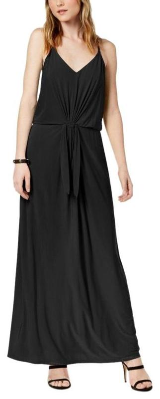 Yieldings Discount Clothing Store's Tie-Waist V-Neck Maxi Dress by Bar III in Black