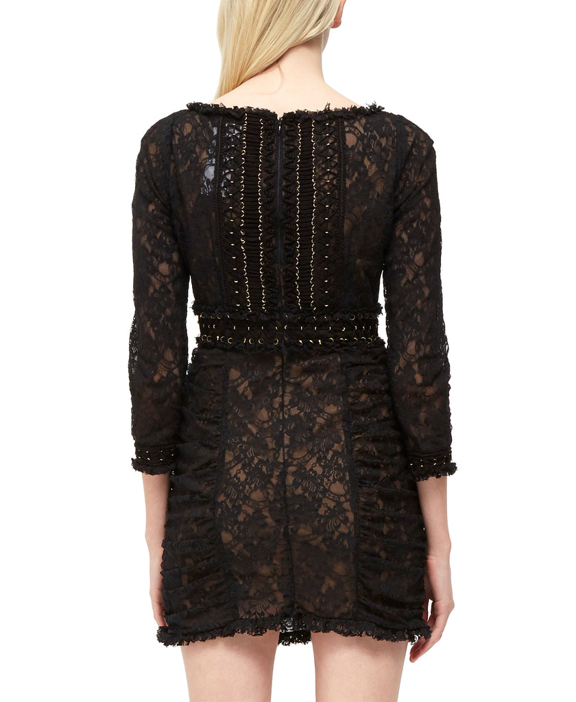 Yieldings Discount Clothing Store's Lace O-Ring Dress by French Connection in Black/Gold