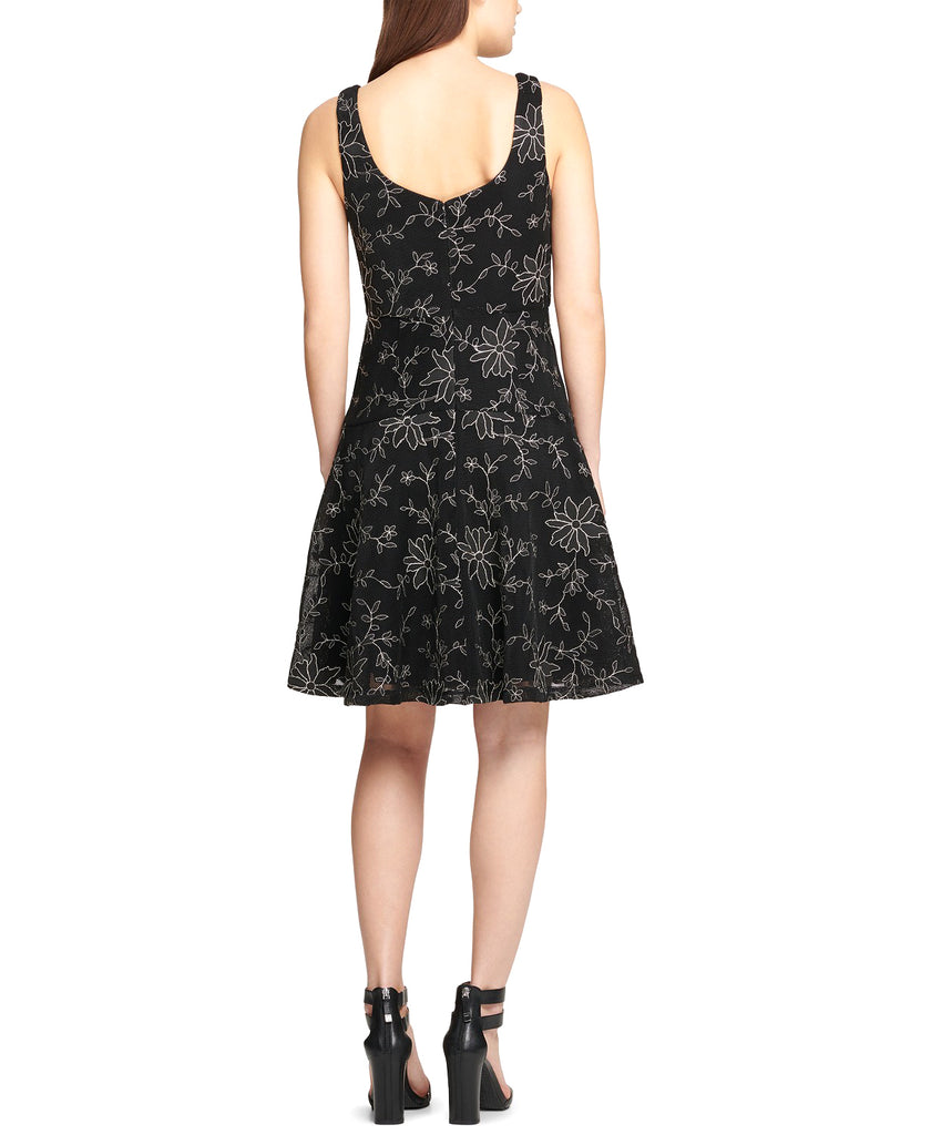 Yieldings Discount Clothing Store's Embroidered Cocktail Dress by DKNY in Black Combo
