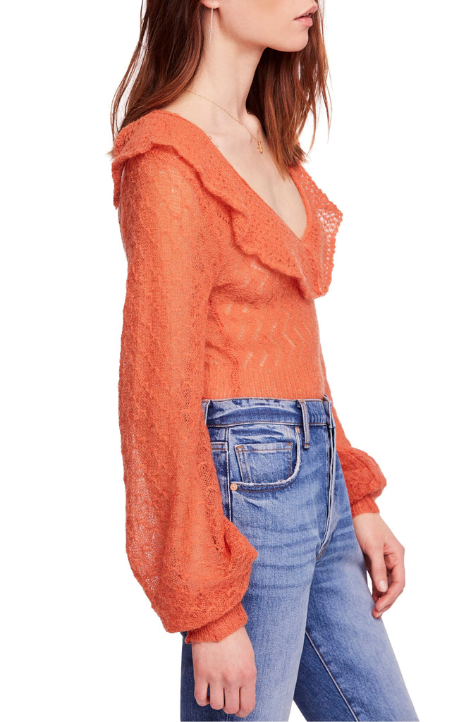 Yieldings Discount Clothing Store's Macaroon Sweater by Free People in Burnt Orange